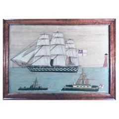 British Sailor's Woolwork of Three Royal Navy Ships, Circa 1885