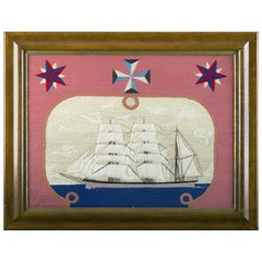 British Sailor's Woolwork or Woolie of a Royal Navy Ship, circa 1870