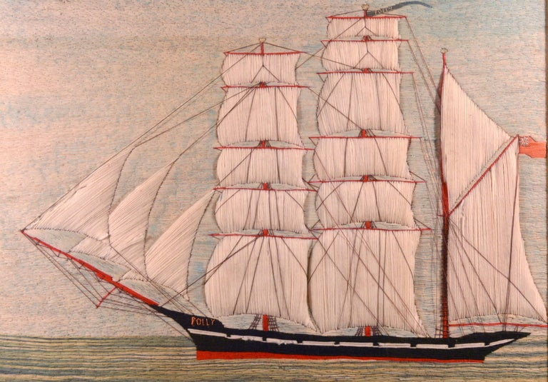 Large British Sailor's Woolwork of the Barque Polly, circa 1875  A large sailor's woolie or woolwork of a port side view of a ship named