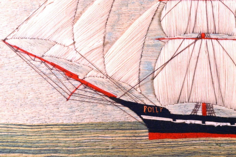 Folk Art British Sailor's Woolwork or Woolie of the Barque Polly For Sale
