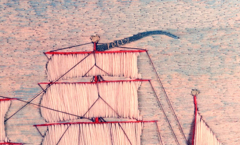 English British Sailor's Woolwork or Woolie of the Barque Polly For Sale