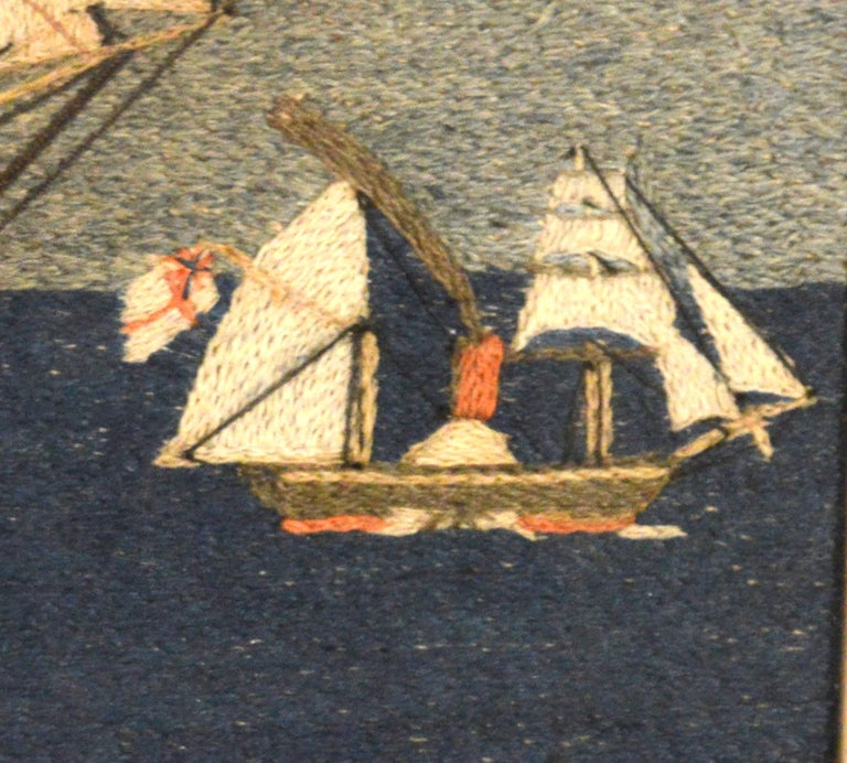 Folk Art British Sailor's Woolwork or Woolie of Two Royal Navy Ships For Sale