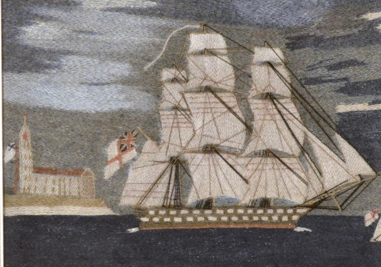 British Sailor's Woolwork or Woolie of Two Royal Navy Ships In Good Condition For Sale In Downingtown, PA
