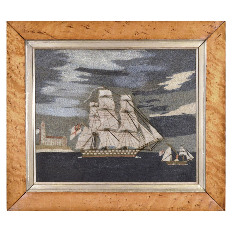 British Sailor's Woolwork or Woolie of Two Royal Navy Ships For Sale