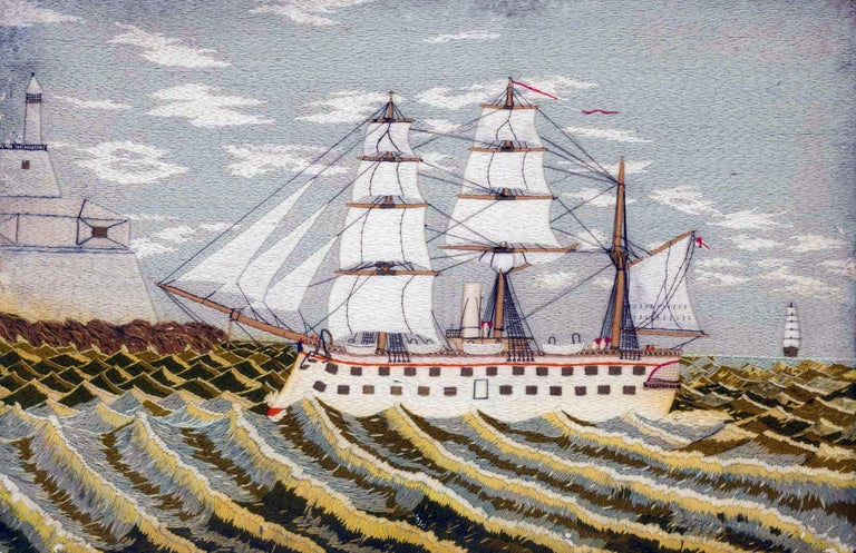 British sailor's woolwork picture of a ship on unusual green sea, circa 1875   An unusual portside view of a ram-bow ship, under sail, coming into land on an unusual wavy green sea.   Dimensions: 18 1/2 inches high x 26 1/2 inches wide x 1