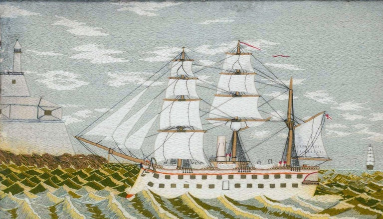 Folk Art British Sailor's Woolwork Picture of a Ship on Unusual Green Sea, circa 1875 For Sale