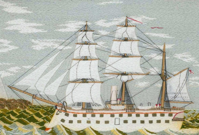 English British Sailor's Woolwork Picture of a Ship on Unusual Green Sea, circa 1875 For Sale