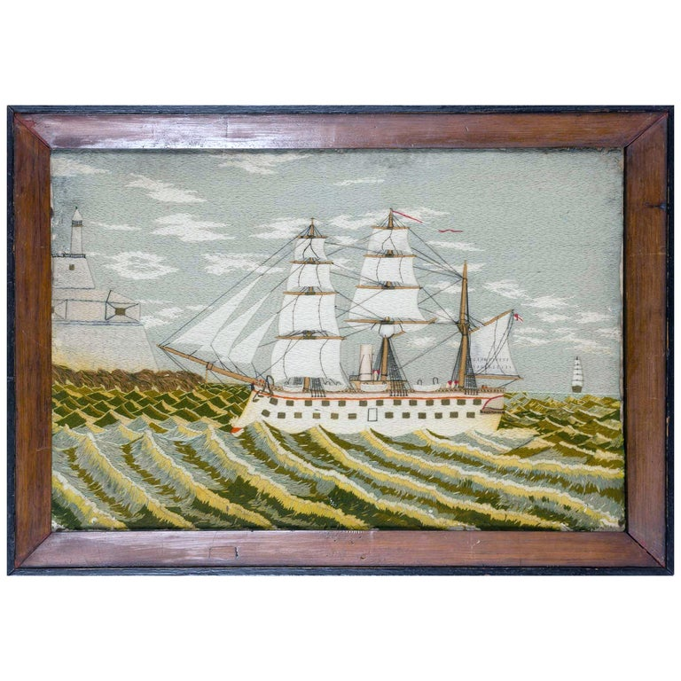 British Sailor's Woolwork Picture of a Ship on Unusual Green Sea, circa 1875 For Sale
