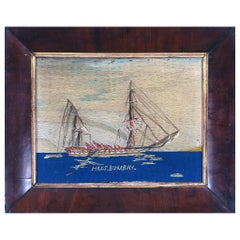 British Sailor's Woolwork Picture of H.M.S. Bombay on Fire, 'December 22, 1864'