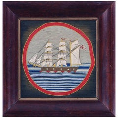British Sailor's Woolwork Porthole Woolie of a Merchant Ship, circa 1875