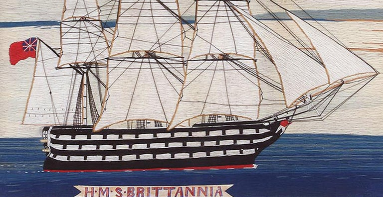 Folk Art British Sailor's Woolwork Woolie of Ship, circa 1875 For Sale