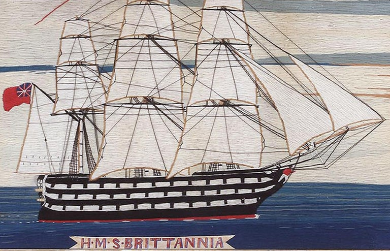 English British Sailor's Woolwork Woolie of Ship, circa 1875 For Sale
