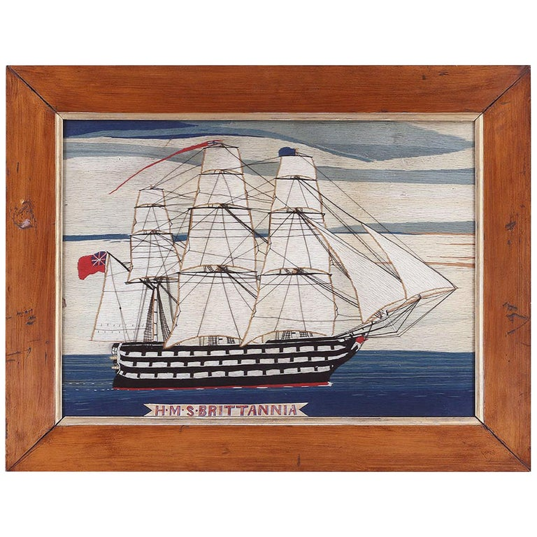 British Sailor's Woolwork Woolie of Ship, circa 1875 For Sale