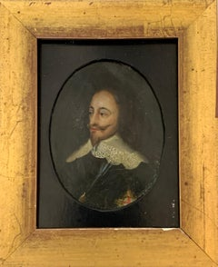 18th century portrait of Charles the First of England painted on copper
