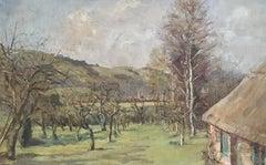 Autumnal Landscape, Rural Farmhouse, Impressionist Oil Painting