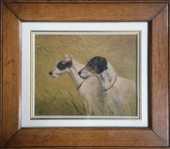 Beloved Dogs, Fine Portrait of Two Dogs, Signed Oil Painting