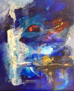 Blue World, Abstract Oil Painting, Signed