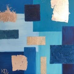 Cubist Sea Blue Oil Painting, British Artist