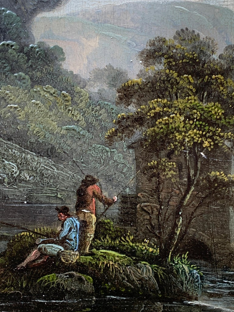 Early 19th century English  River landscape with fishermen - Painting by Unknown