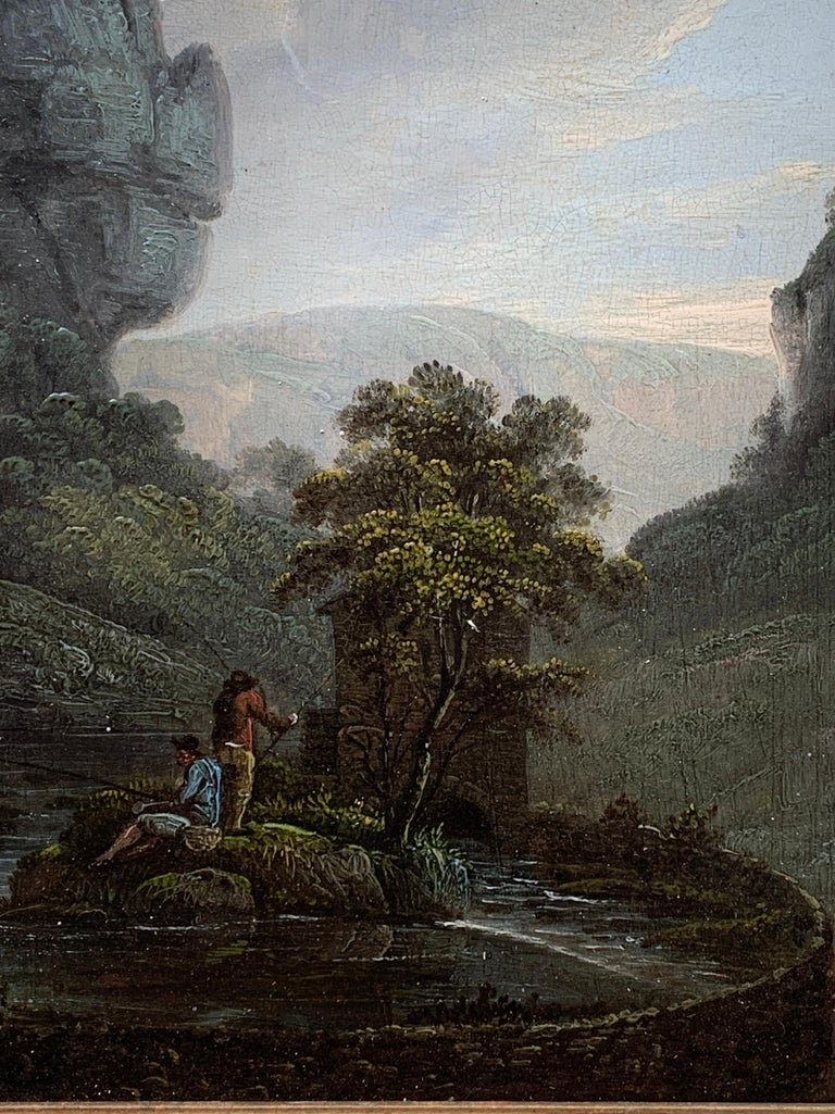 Early 19th century English  River landscape with fishermen - Old Masters Painting by Unknown