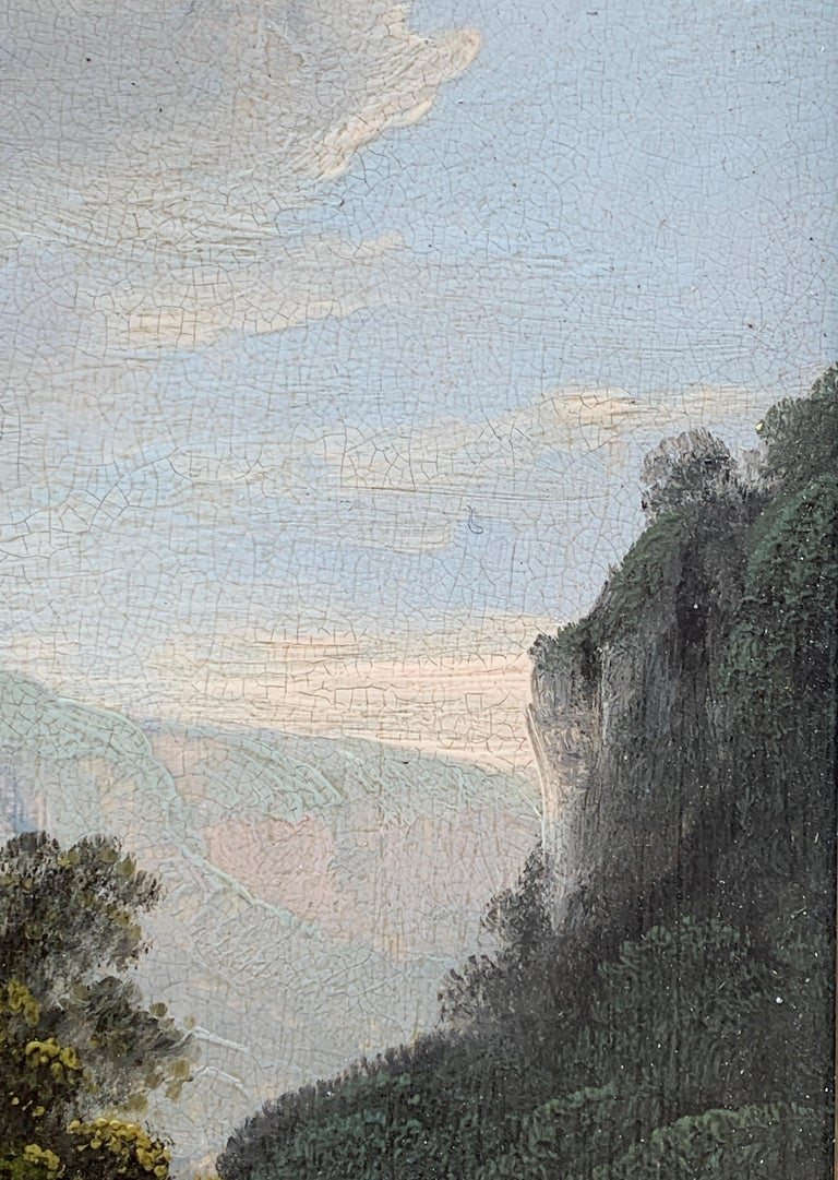 Early 19th century English  River landscape with fishermen - Gray Figurative Painting by Unknown