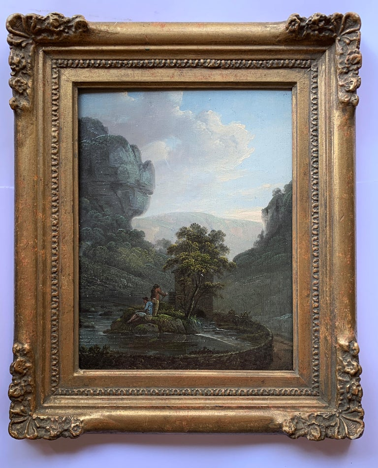 Unknown Figurative Painting - Early 19th century English  River landscape with fishermen