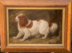 Early Victorian English Folk art portrait of a Spaniel