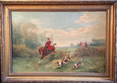 Hunt Scene, Sporting British Landscape, Original Frame