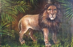 King of the Jungle, Large Impressionist Oil Painting of a Lion