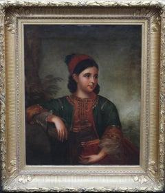 Orientalist Turkish Woman - British School 19thC art portrait oil painting