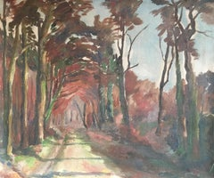 Rustic Country Road Mid Century Impressionist Landscape, Original Oil Painting