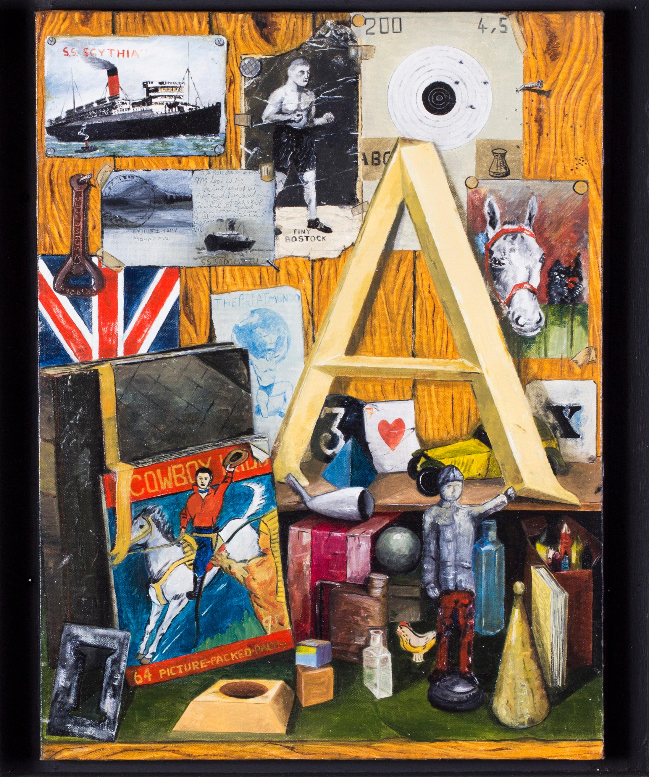 Original 20th Century British school oil painting in the style of Peter Blake