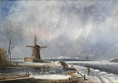 The Old Windmill, Victorian Landscape, Oil Painting