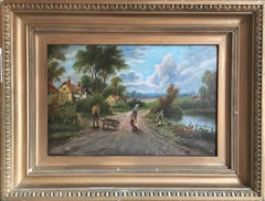The Rural Road, Countryside Landscape Antique Oil Painting