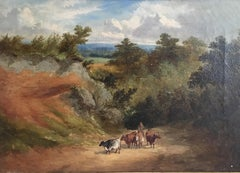 The Travelling Herd, Early Victorian Landscape, Oil Painting