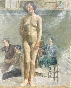 1930's MODERN BRITISH OIL - ARTISTS STUDIO STILL LIFE ART CLASS WITH NUDE MODEL