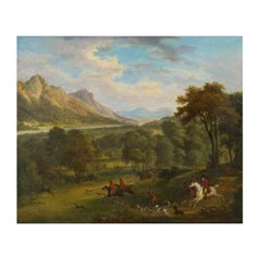 "British School Antique Oil Landscape Painting of ""A Hunting Party"""