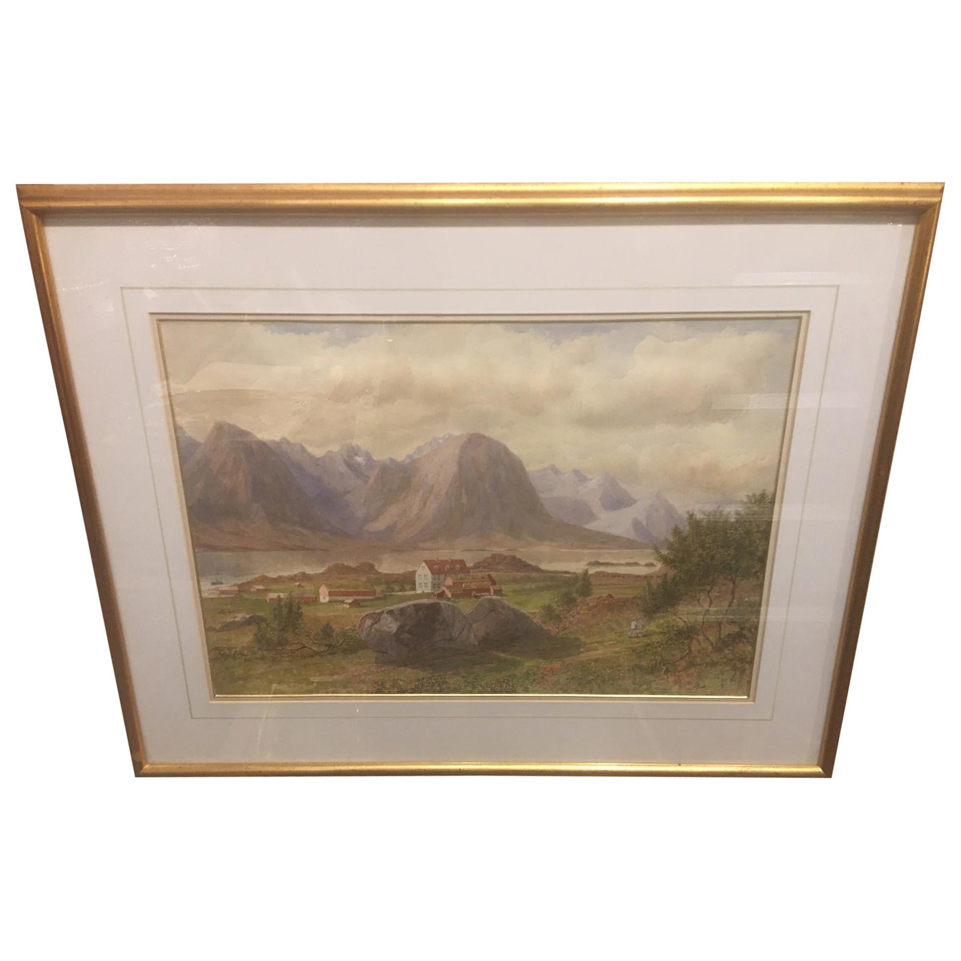 """British School """"Mountain Landscape"""", Watercolor, Framed, Unsigned, 19th Century"""