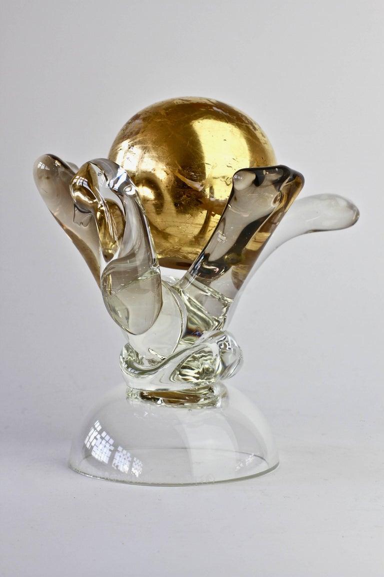 British Studio Art Glass 'Golden Globe' Sculpture signed by Adam Aaronson, 1997 For Sale 5