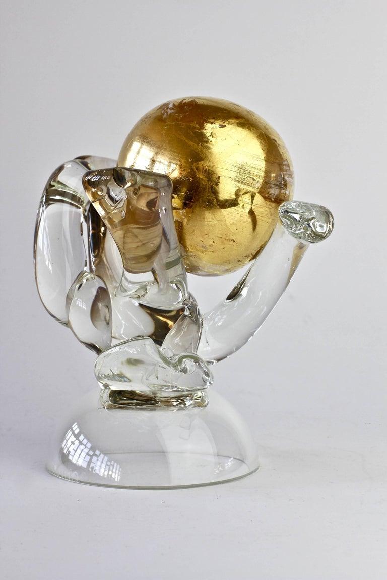 British Studio Art Glass 'Golden Globe' Sculpture signed by Adam Aaronson, 1997 For Sale 7