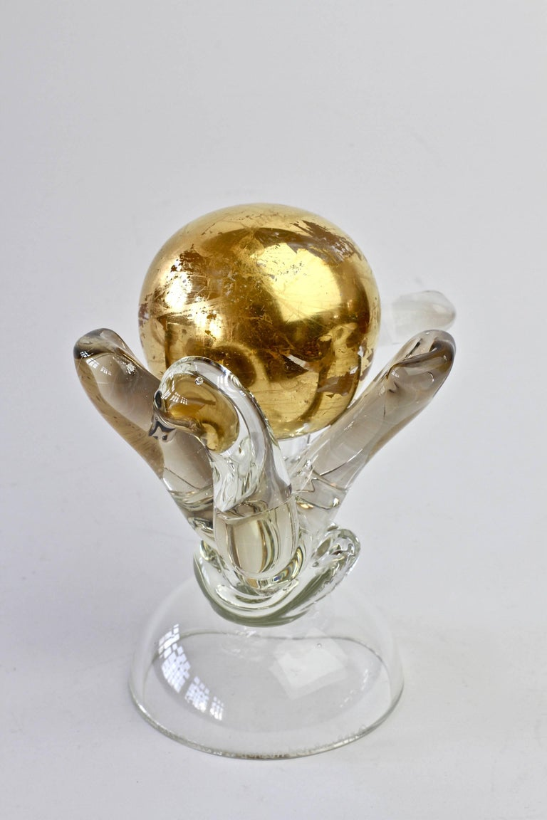 British Studio Art Glass 'Golden Globe' Sculpture signed by Adam Aaronson, 1997 For Sale 11