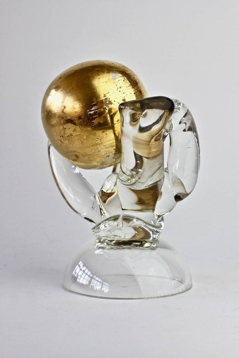 Late 20th Century British Studio Art Glass 'Golden Globe' Sculpture signed by Adam Aaronson, 1997 For Sale
