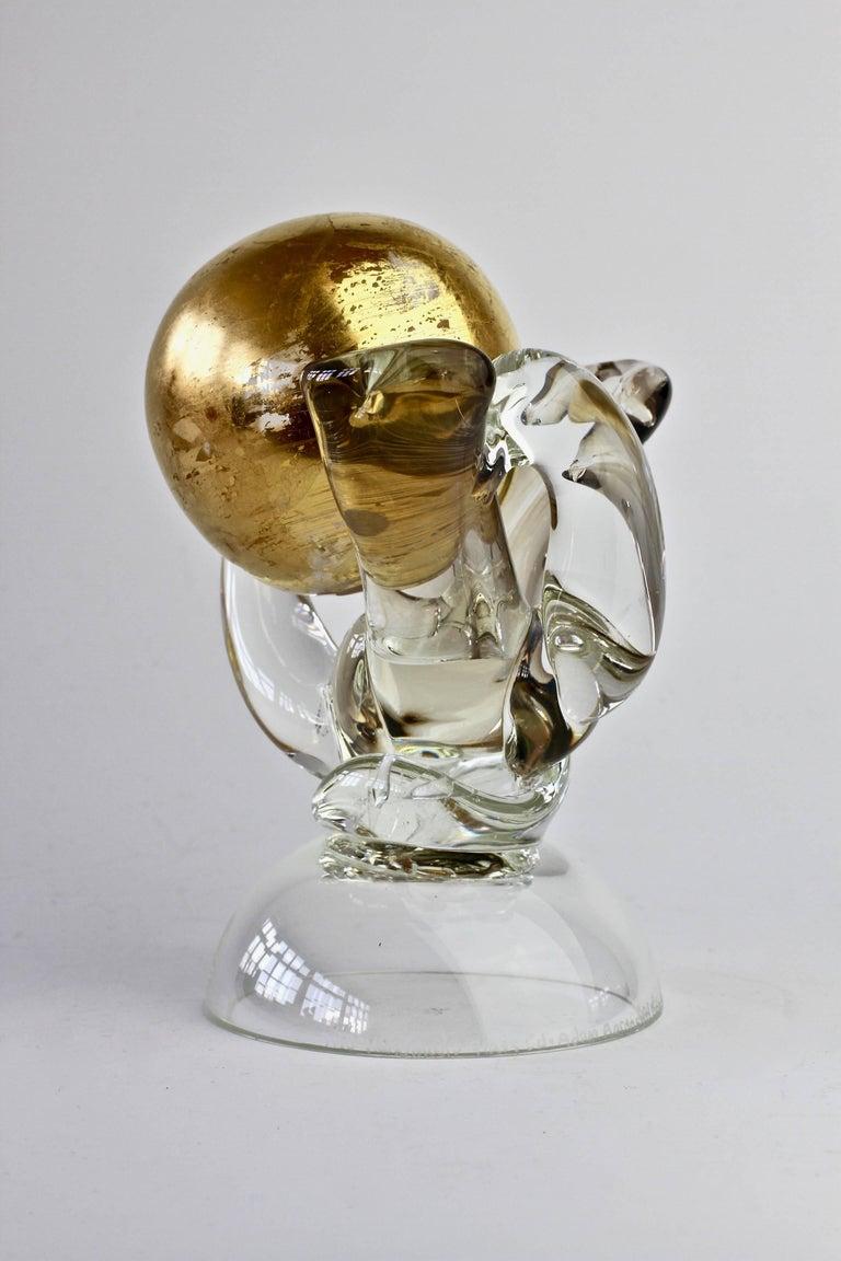 British Studio Art Glass 'Golden Globe' Sculpture signed by Adam Aaronson, 1997 For Sale 1