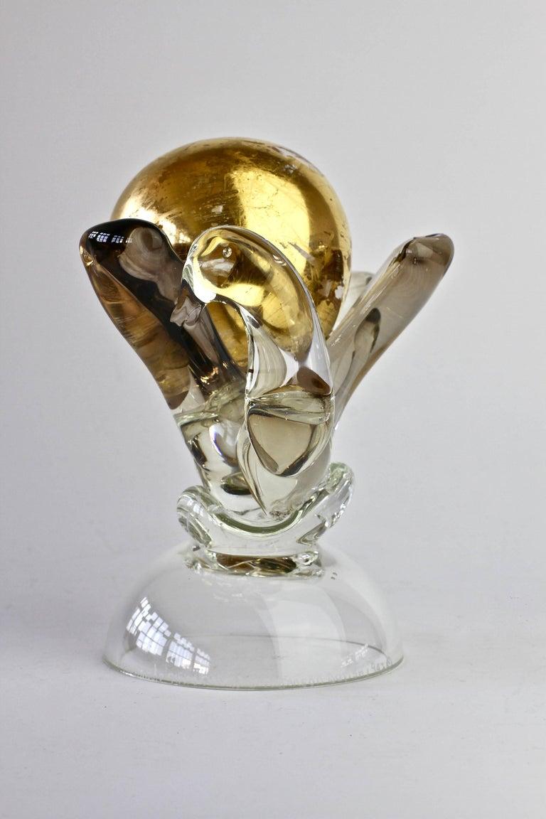 British Studio Art Glass 'Golden Globe' Sculpture signed by Adam Aaronson, 1997 For Sale 3