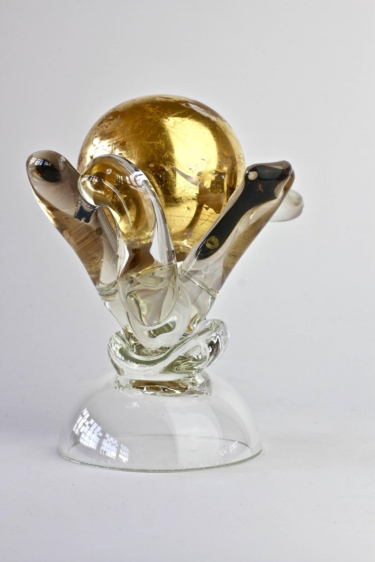 British Studio Art Glass 'Golden Globe' Sculpture signed by Adam Aaronson, 1997 For Sale 4