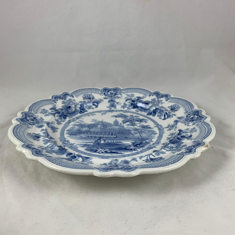British Theme 'Royal Sketches' Blue on White Transferware Dinner Plates, Set/6 For Sale 2