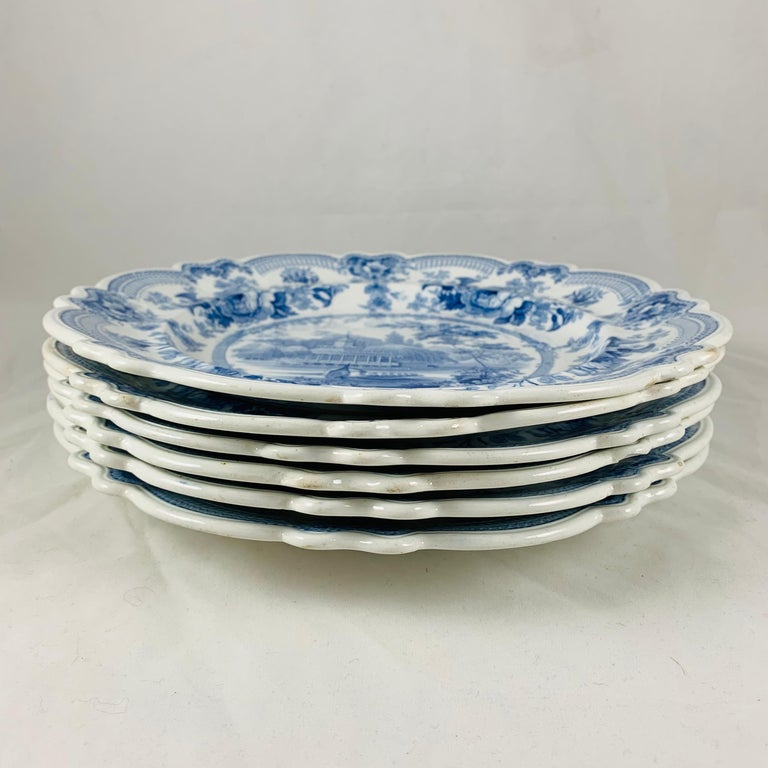 British Theme 'Royal Sketches' Blue on White Transferware Dinner Plates, Set/6 For Sale 3