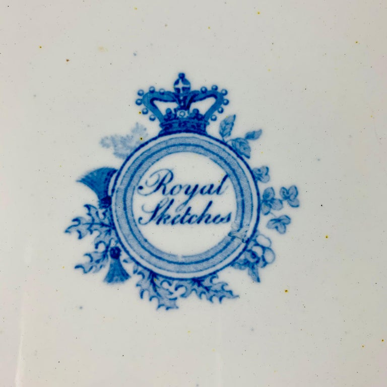 British Theme 'Royal Sketches' Blue on White Transferware Dinner Plates, Set/6 For Sale 4