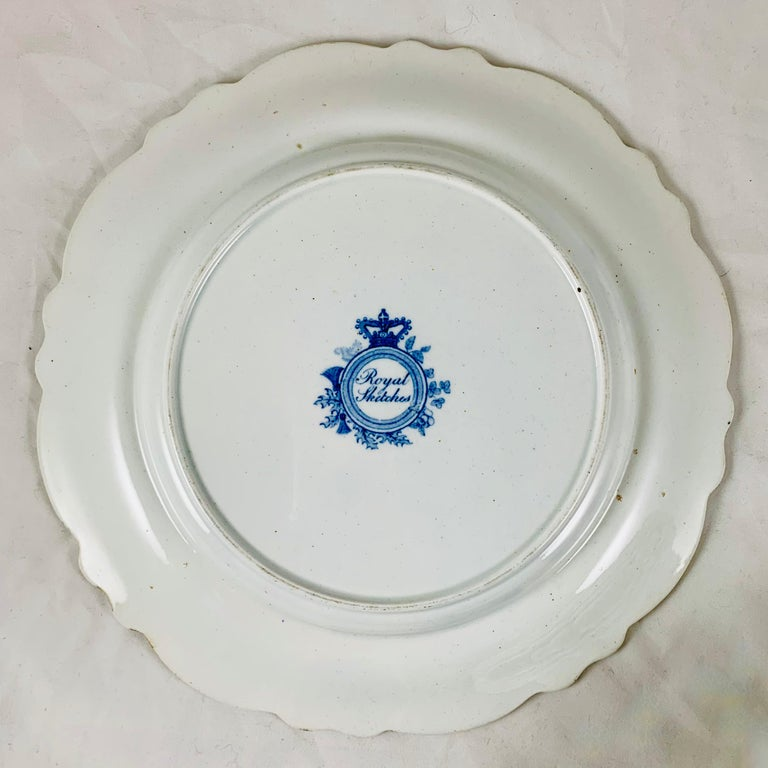 British Theme 'Royal Sketches' Blue on White Transferware Dinner Plates, Set/6 For Sale 5