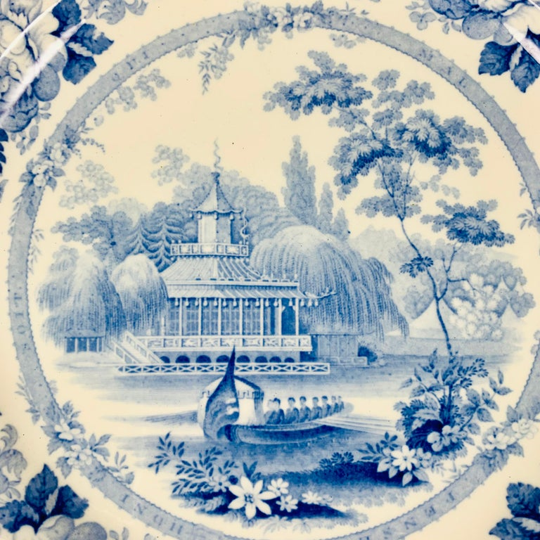 A set of six British Romantic themed transfer printed dinner plates in the pattern known as 'Royal Sketches.', circa mid-19th century, Staffordshire, England.